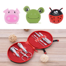 7 Pcs/set Stainless Steel Nail Tools Kit Manicure Nail Art Tools Cute Cartoon Shape Box Scissors Nail Clipper Eyebrow Clip set