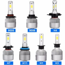 S2 Auto Car H1 H3 H4 H7 H11 9005 9006 LED Headlight 6500K 72W 7600LM COB Bulb Automobile Part Repalcement Lamp Head Light - YFY OFFROAD store