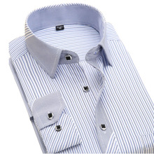 New 2017 Autumn Striped Fashion Men Dress Shirts Long Sleeve Brand Clothing Social Non-iron Formal Business Men's Casual Shirt