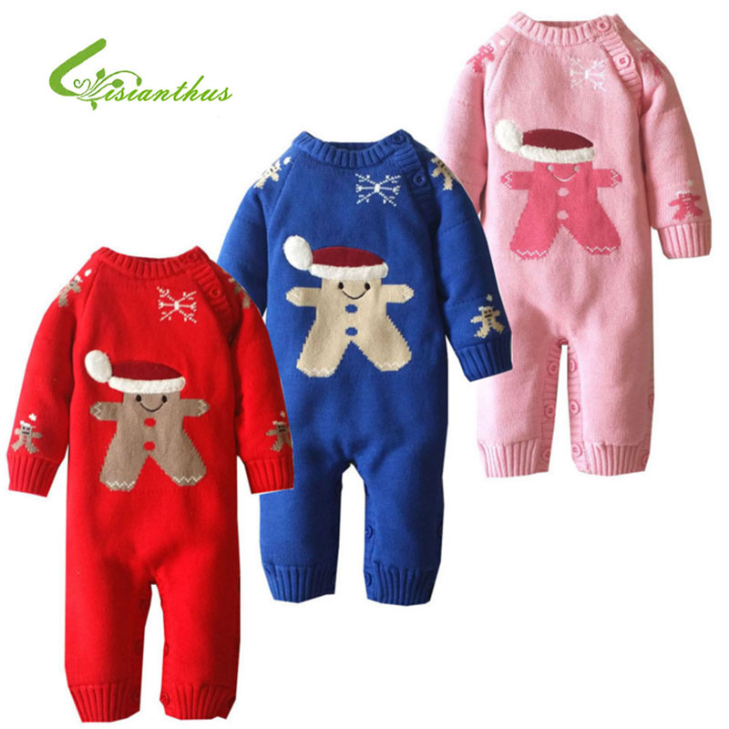 Newborn Baby Clothes Knitted Sweater Rompers Costume Boys Girls Jumpsuit Climbing Coral Fleece Clothes Christmas Snowman Outwear<br>