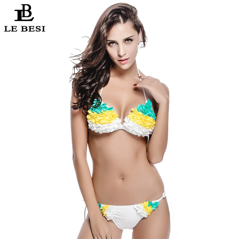LE BESI 2017 New Bikini Set For Women Floral Sexy Swimwear Brazilian Swimsuit White Bandage Bathing Suit Push Up Bodysuit<br><br>Aliexpress