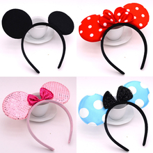 Wholesale Adult Mouse Ears Headband Birthday Party Decoration Hairband Kid Minnie Party Supplies Hair Accessories(China)