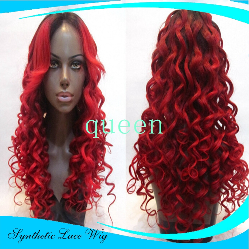 Dark Red Glueless Heat Resistant Fiber Kinky Curly Synthetic Lace Front Wig Deep Curly Synthetic Hair Lace Wig For Black Women<br><br>Aliexpress