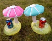 Summer Fun Souvenirs Inflatable Mushroom Shape Cup Holder Float Little Umbrella Coca Cola Can Holder Floating Party Pool Floats(China)