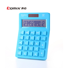 C-6 Comix Colorful Electric Calculator Simple Fashion Lovely Mini Dual Power Supply Calculator Solar Energy Counter MTzone