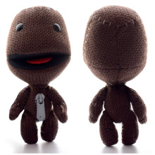 "New Hot Sale 1 pair PSP PS3 Video Game Little Big Planet Plush Toy 16cm Sackboy Brown Knitted 7 "" Lovers Doll Free shipping"