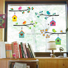 fashion vintage branch bird cage wall stickers removable living room decals Mural Parlor window Kids Bedroom Home Decor(China)