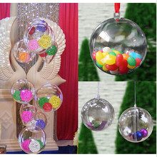 12pcs Christmas Tress Decorations Ball 6cm Transparent Open Plastic Clear Bauble Ornament Gift Present Box Decoration PC879324(China)