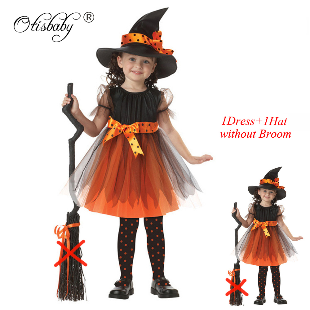 2017 Girls Halloween Coaplay Dress With Hat Children Girls Witch Costume Kids Masquerade Infant Christmas Festival Baby Clothes(China (Mainland))