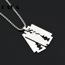 "CARA New well polished 316L stainless steel mens stylish jewelry necklace 2pcs shaving blade pendant with 27.5"" chain CAGF0308"