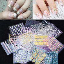 50 Sheets 3d Nail Art Stickers Decals,High Quality Mix Color Flowers Leopard Design Nail Tips Decoration Manicure Tools