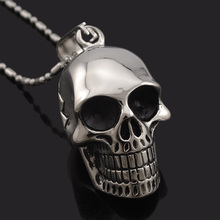Dolaime ! Necklace Men,Biker Motorcycle Style Black Stainless Steel Skull Pendants Necklaces Charm Jewelry Party Gift, punk rock(China)