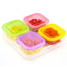 120ML 4 Grids Crisper Ice Lattice Dinnerware Box Cover Plate Freezer Baby Food Storage Container Fresh Keeper Preservation Bowl