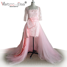 VARBOO_ELSA Long Sleeves Pink Wedding Dress Real Sample Plus Size Bridal Gown Applique Wedding Dress 2017 With Detachable Train(China)