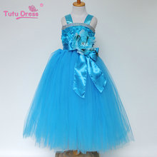 Rosette Top Pink Blue Purple Green Red Color Girl Wedding Party Wear Dress Fluffy Tutu Tulle Dress