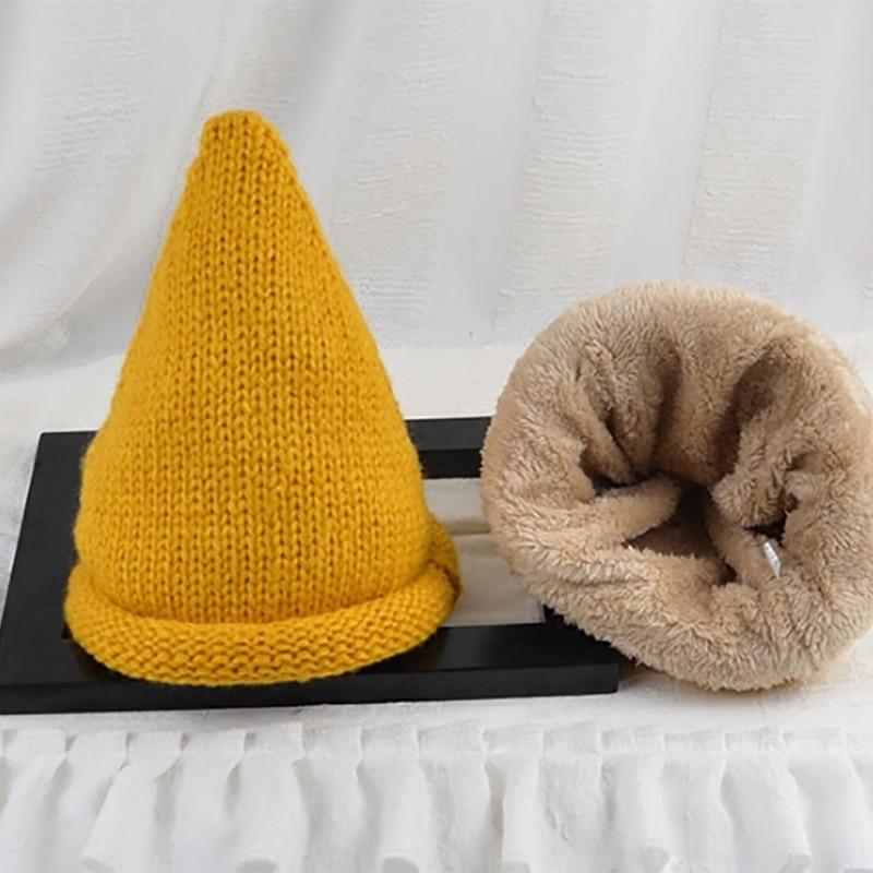 Autumn winter small tip crochet hat boy and girls knitting wool cap fashion high quality knitted wizard hat Îäåæäà è àêñåññóàðû<br><br><br>Aliexpress