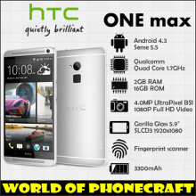 "HTC ONE MAX Quad Core 1.7GHZ 2G RAM 16G ROM 5.9"" Big Screen 1920*1080 1080P Fingerprint ID FDD 4G LTE Android mobile phones(China)"