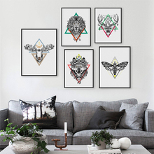 HAOCHU Indian Animals Head Print Poster Azteca Culture Lion Deer Wolf Wall Pictures American Canvas Painting Home Decor