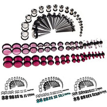 72 Pieces Ear Stretching Kit 14G-00G Tapers Tunnels Plugs Piercing New Arrival(China)