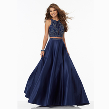 Two 2 Piece Satin long Mermaid Chic Prom Dresses with Beaded 2017 vestido de festa longo dress for graduation Party Gown T800