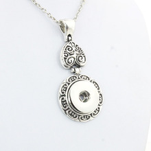 Boom Life Vintage women's flower 18mm metal snap button long chain necklaces&pendant female DIY jewelry one direction(China)
