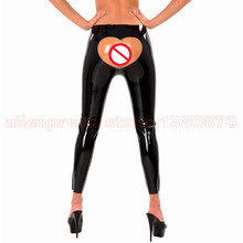 Sexy Latex Leggings Women Rubber Latex Fetish Pants with Transparent Hip Split Joint Costumes S-LTW065(China)