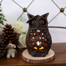 Handmade Creative Candle Holders Vintage Cast Iron Owl Candlestick Home Decoration Accessories Candle Stand for Cafe Gift ZA3025(China)