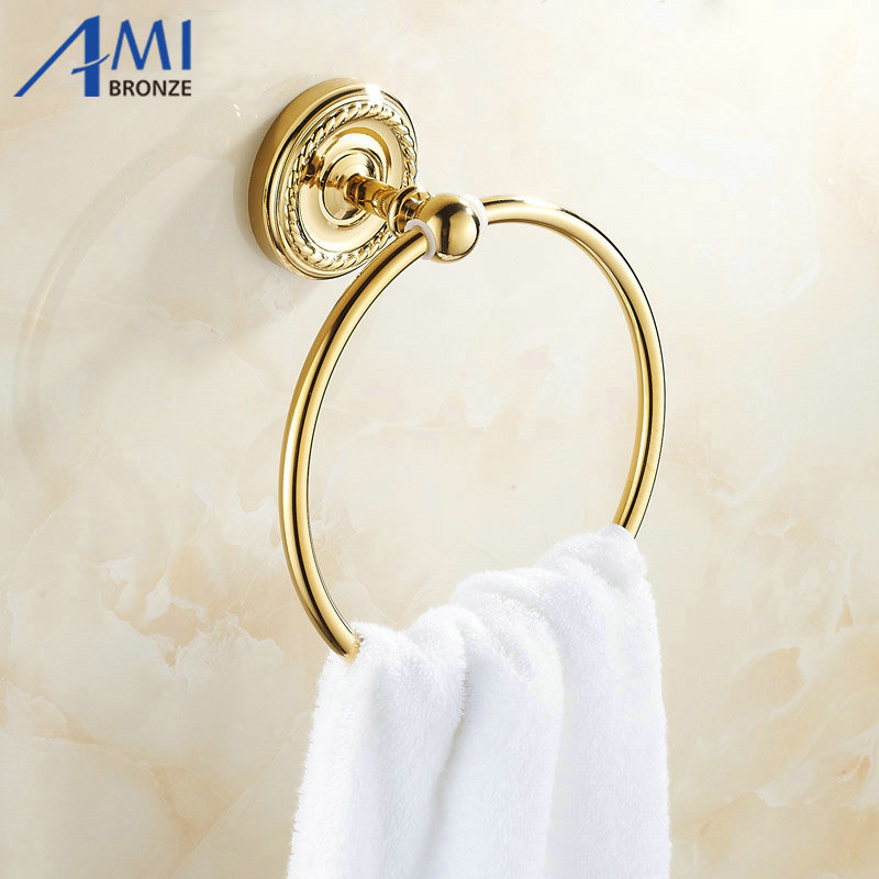 Golden Brass Bathroom Accessories Towel Ring rack Wall Mounted  7003G<br>