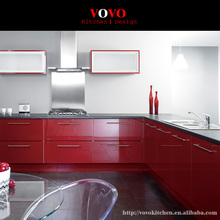 High quality modern lacquer kitchen cabinet in glossy red(China)