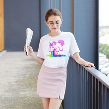 ZSIIBO Harajuku Funny Unicorn Rainbows Print T-Shirt Summer Women Short Sleeve T Shirts Cute Young Girl Tops Hwc007