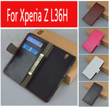 Luxury Stand Flip Wallet Leather Case Skin Shell Cover For Sony Ericsson Xperia Z L36H C6603 9 Colors(China)