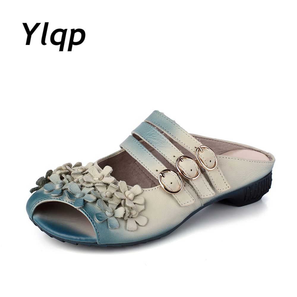 2017 Leisure Gradient Color Floral Handmade Genuine Leather Shoes Women Sandals Flat Slippers<br>