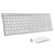 Smooth Body 2.4GHz Wireless Keyboard and Mouse Combo 102 Keys Low-noise Wireless Keyboard Mouse for Mac Pc WindowsXP/7/10 Tv Box