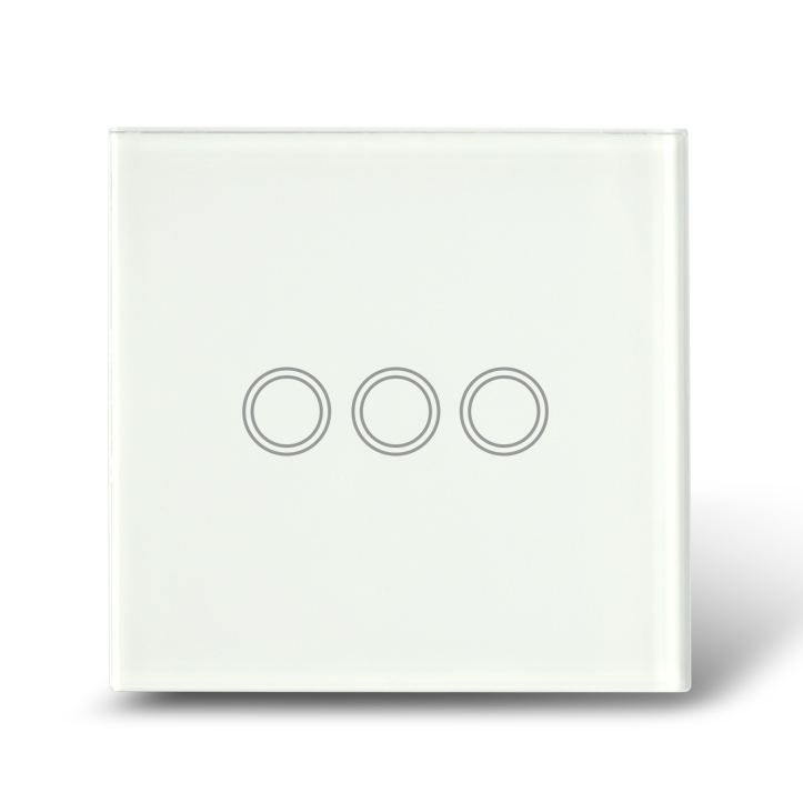 White Crystal Glass Touch Wall Light Switch / Electrical Switches 3 Gang 1 Way+Blue LED backlight --- UK Standard<br>