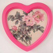 New Heart Shaped Wooden Picture Frame Photo Frames Wall Decoration kader Wood Box Frame Pink Wedding Gift(China)