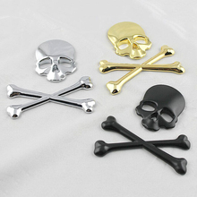 Car Styling Skull Metal Bone Badge motorcycle car stickers and decals car accessories For Jeep SUV Harley Honda Yamaha Toyota(China)