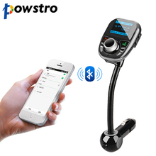 Powstro Mp3 player in Bluetooth FM Transmitter Music Audio Stereo Radio Modulator Kit TF USB with Steering Wheel Remote Control(China)