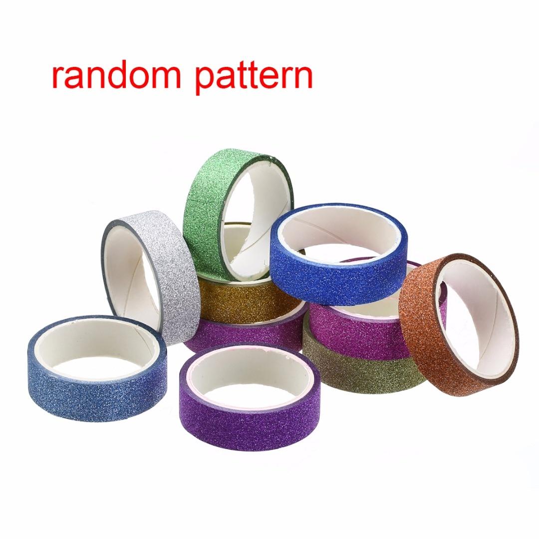 10pcs 1.5cmx3m Glitter Pattern Washi Tape Adhesive Sticker Decor Useful Crafts