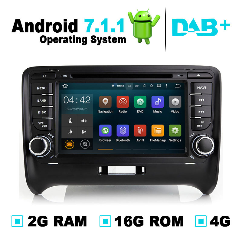 2G RAM Android 7.1 Car GPS Navigation System DVD Player Radio Audio Video Stereo Media For Audi TT Support OBD2 DAB+ DVR TPMS