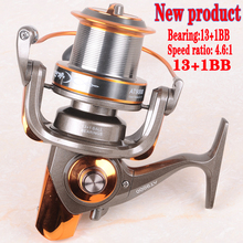 Hynix 8000/9000 13+1BB long shot reel casting for carp and salt water surf spinning big sea fishing reel4.6:1 Metal Fishing Reel(China)