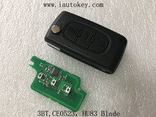 (CE0523 FSK) Remote Flip Key 433MHz with ID46 chip for Peugeot 207 307 308 407 607 Car Keyless Entry Fob ID46 7941 Chip(China)