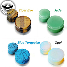 1Pair Ear Expander Reamer Natural Organic Stone Ear Tunnels Plugs Gauges Opal Piercing Body Jewelry Ear Expander 5mm-25mm(China)