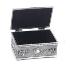 Hot Sale 1Piece Jewelry Organizer Retro Box Antique Silver For Necklace Ring Earrings Jewelry Gift Box