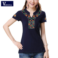 2017 spring Autumn Mexican style vintage stand collar embroidery t shirt boho white dark blue black cotton shirt plus size top