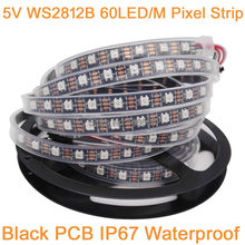 5m 5V WS2812B 60LED/M Dream Color RGB Pixel LED Strip Black PCB,Built-in WS2811 IC Individually Addressable IP67 Tube Waterproof