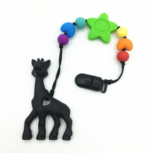 Silicone rainbow pacifier clips with silicone teething toy giraffe chew pendant necklace- sunflower Teether for teething babies(China)