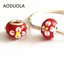 10 Pcs a Lot Red Glass Beads with flower Sliver DIY Spacer European Murano Czech Bead Fit For Pandora Charms Bracelet