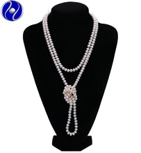 2017 Natural Freshwater Pearl Long Necklace Sweater chain with Big Pearls For Women Valentine' GIFT customized length man made