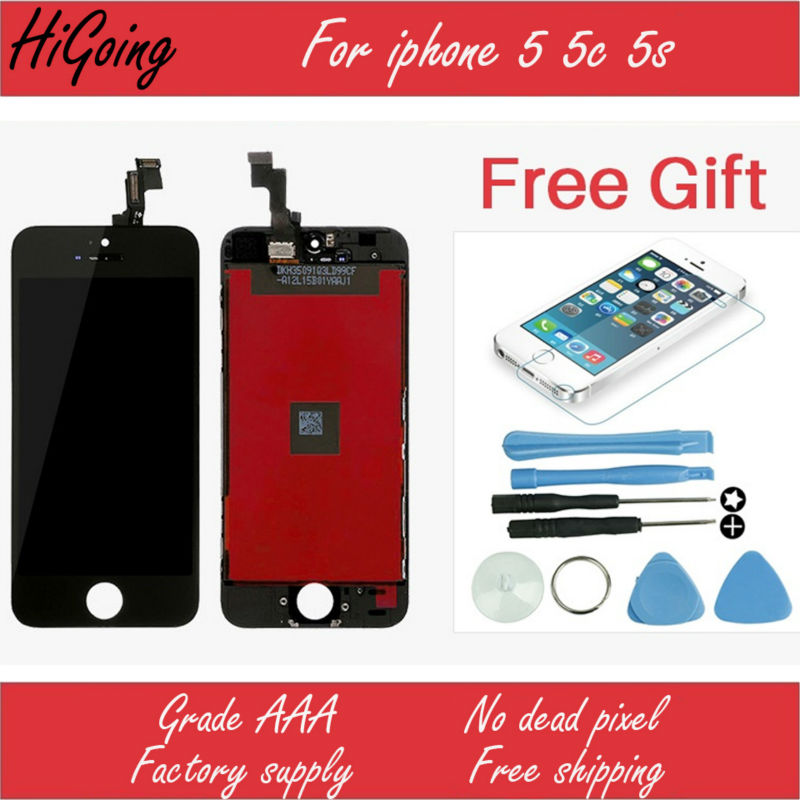 For iPhone 5 5c 5s LCD Screen With Touch Digitizer Display Assembly Replacement No Dead Pixel Free Tool+Tempered Glass<br><br>Aliexpress