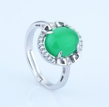 Real Silver 925 Jewelry Ring Woman Lady Female Green Pink Stones Ross Quartz Crystal Open Adjust Fashion Findings Bijouterie 1pc